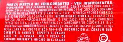 Coca cola - Información nutricional - es