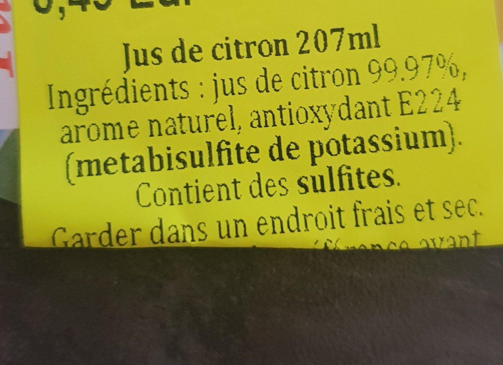 jus de citron - Ingrédients