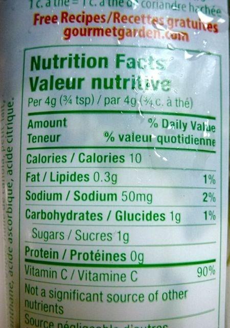 Coriandre Gourmet Garden - Nutrition facts - fr