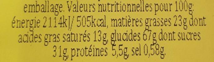 Moment Big Choco Chips Dark Chocolate - Información nutricional