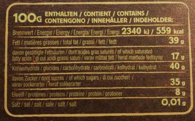 Ragusa noir - Nutrition facts
