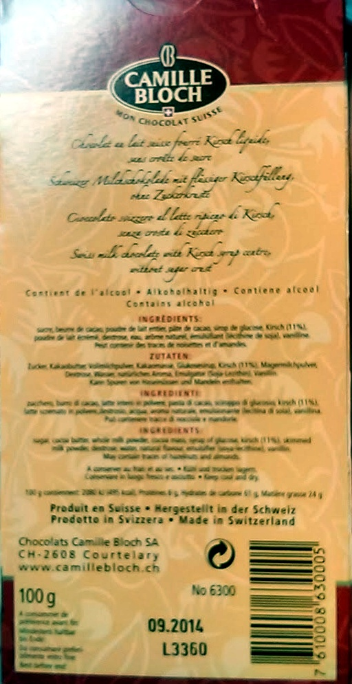 Kirsch - Valori nutrizionali - fr