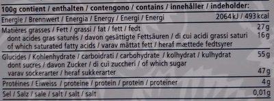 Chocolat Suisse fourré Grappa liquide - Nutrition facts - fr