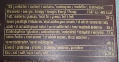 Ragusa Noir - Informazioni nutrizionali - fr