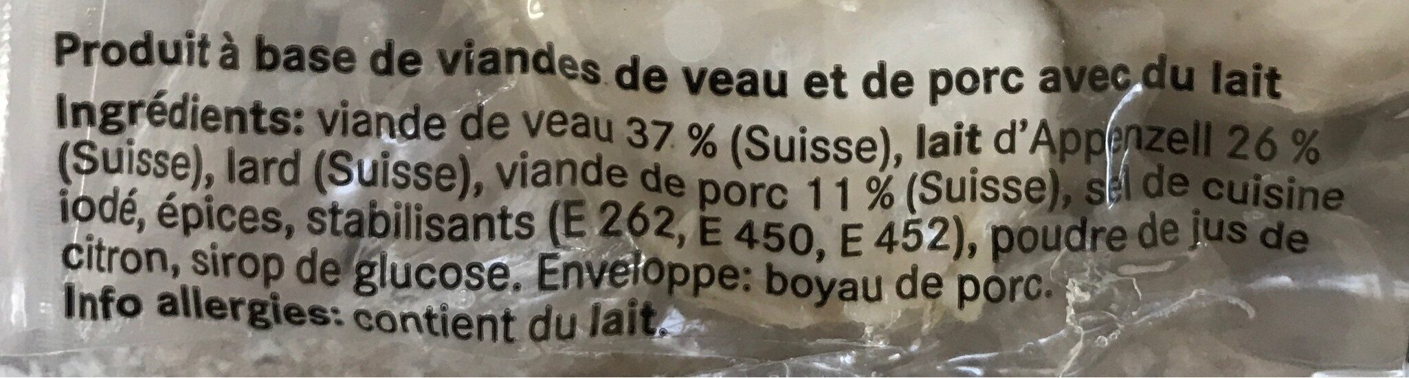 Saucisse a rotir de veau - Ingredients - fr
