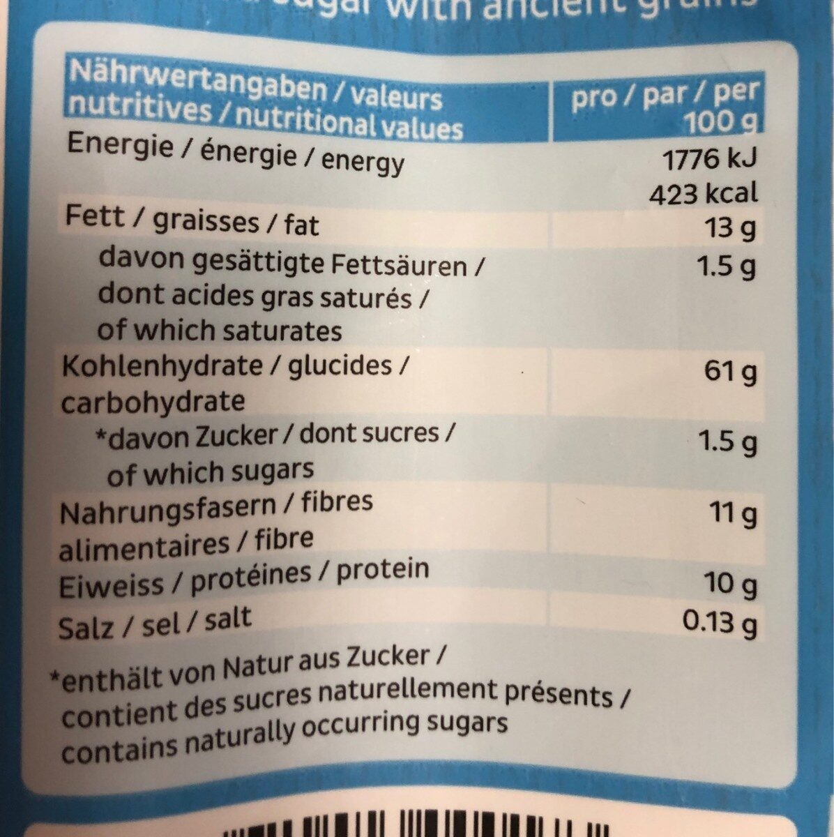 Nature crunch - Nutrition facts - fr