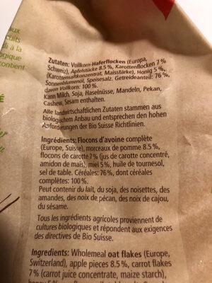Bio Müesli Rüebli Apfel - Ingredienti - fr