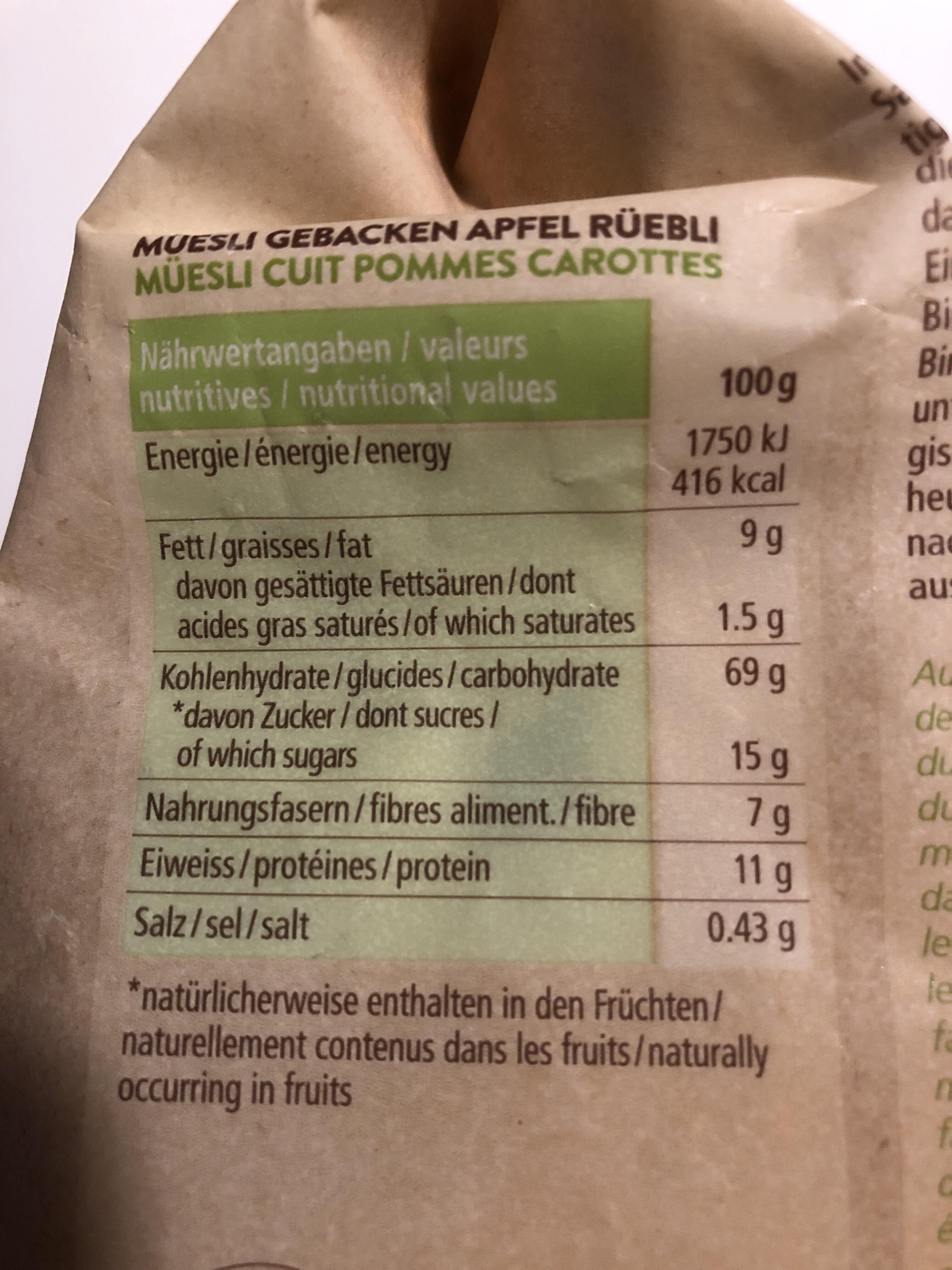 Bio Müesli Rüebli Apfel - Valori nutrizionali - fr