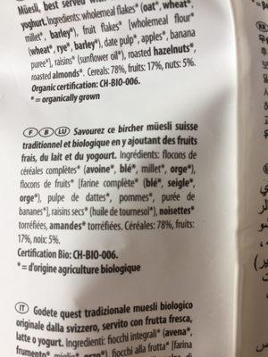 Bio organic Original Bircher Müsli - Ingrédients