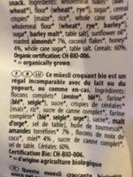 Muesli Croquant Bio Miel Et Amandes - Ingrédients - fr