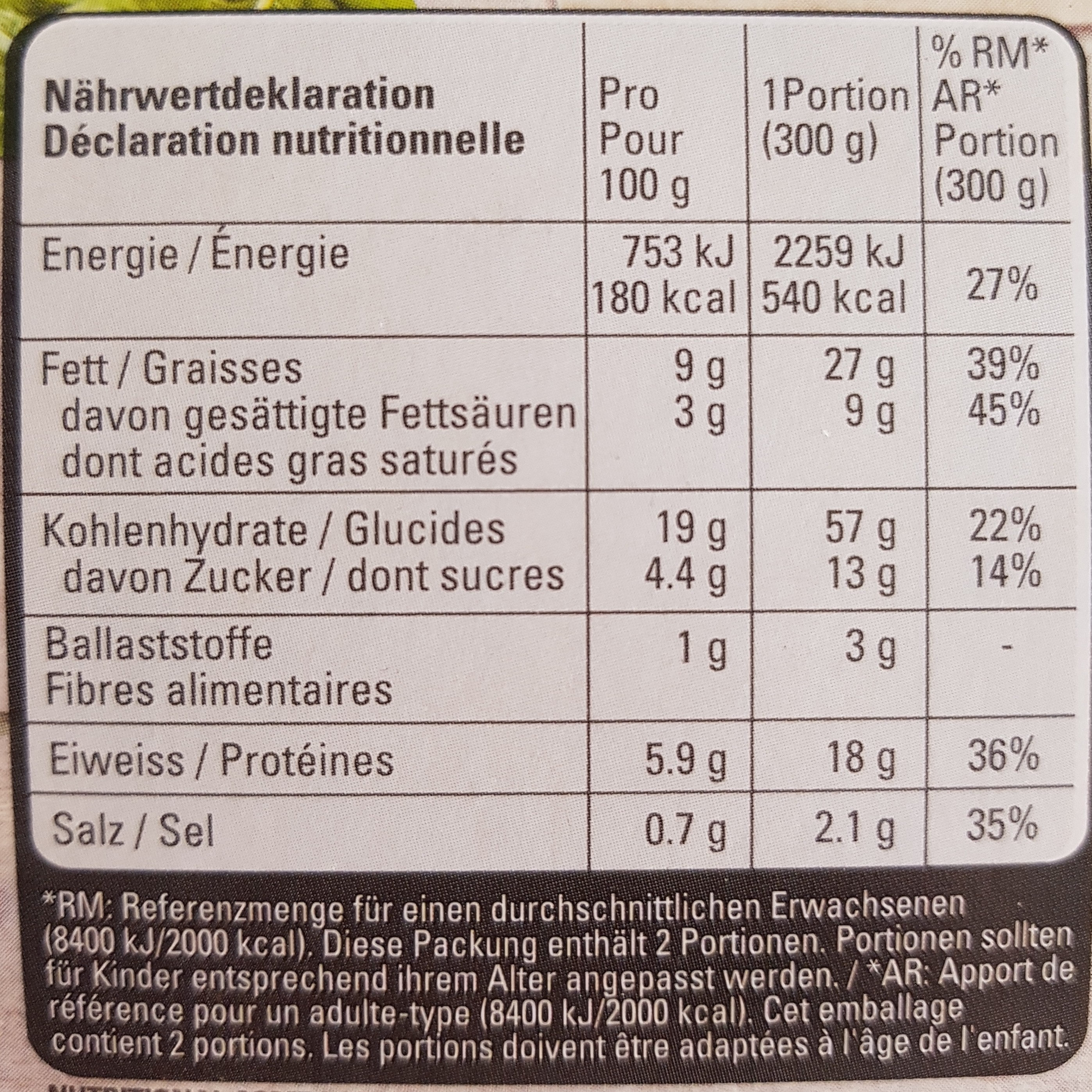 Cannelloni Fiorentina - Nutrition facts - fr