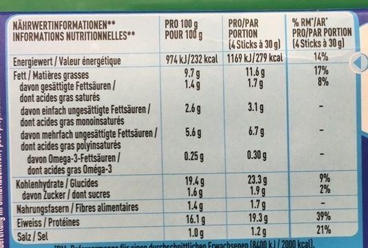 Fish Sticks Poisson - Informations nutritionnelles