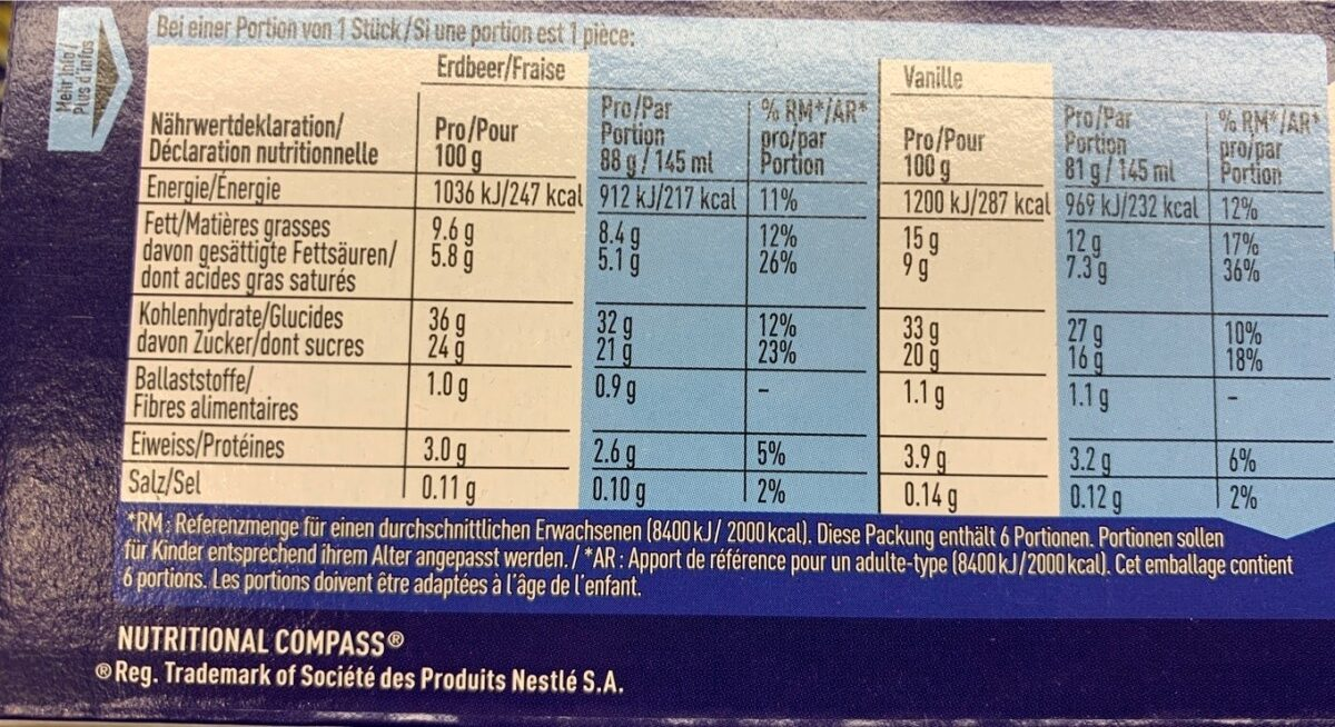 Frisco Extrême 3xFraise 3xVanille - Ingredients