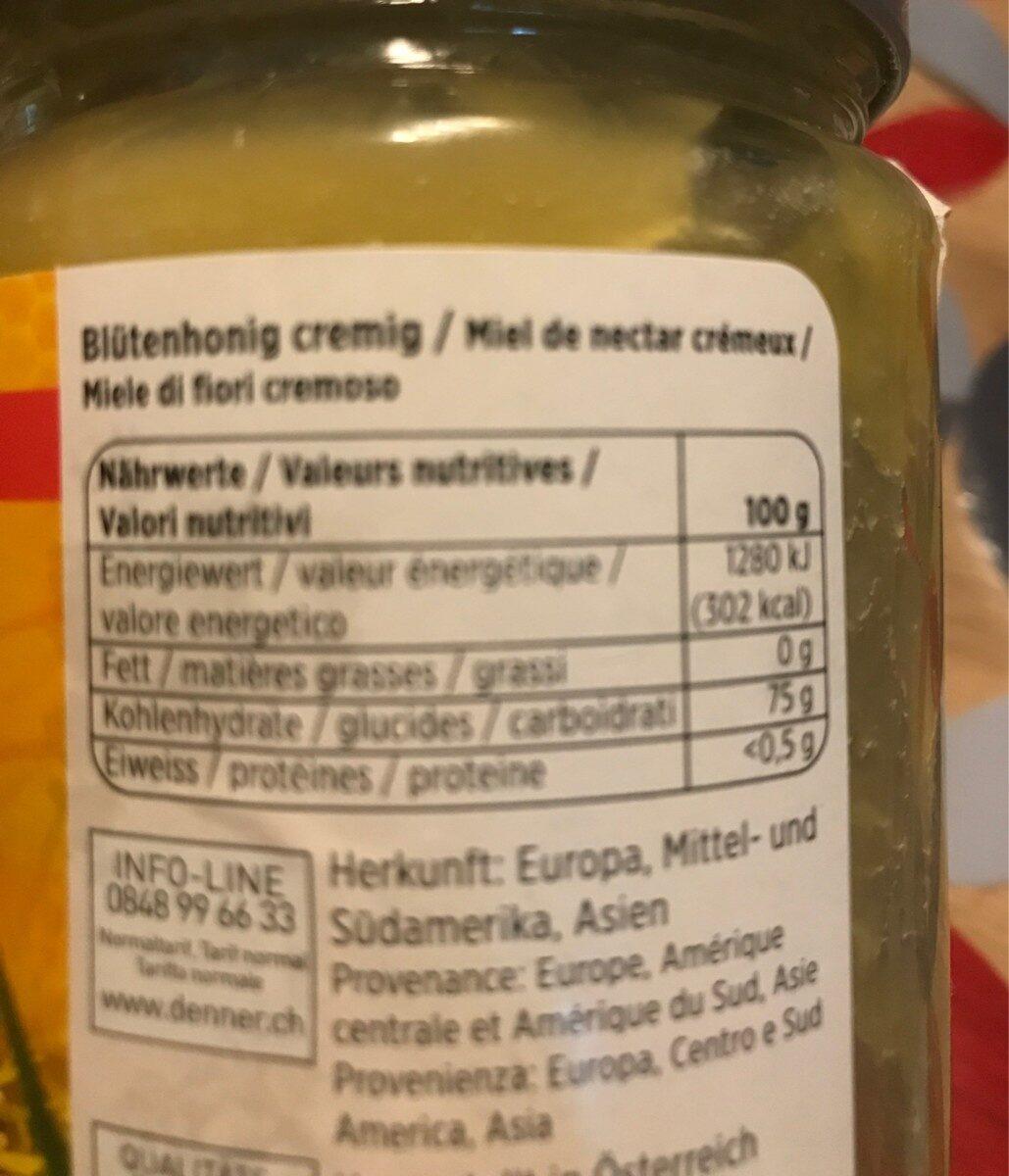Blütenhonig Cremig - Ingredients - fr