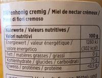 Blütenhonig Cremig - Nutrition facts - fr