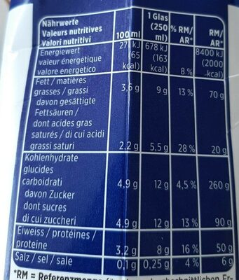 Vollmilch, Milch - Nutrition facts - fr