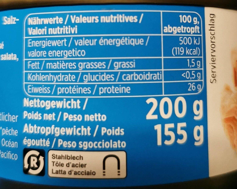 Thon Rose à l'eau salée - Valori nutrizionali - pt