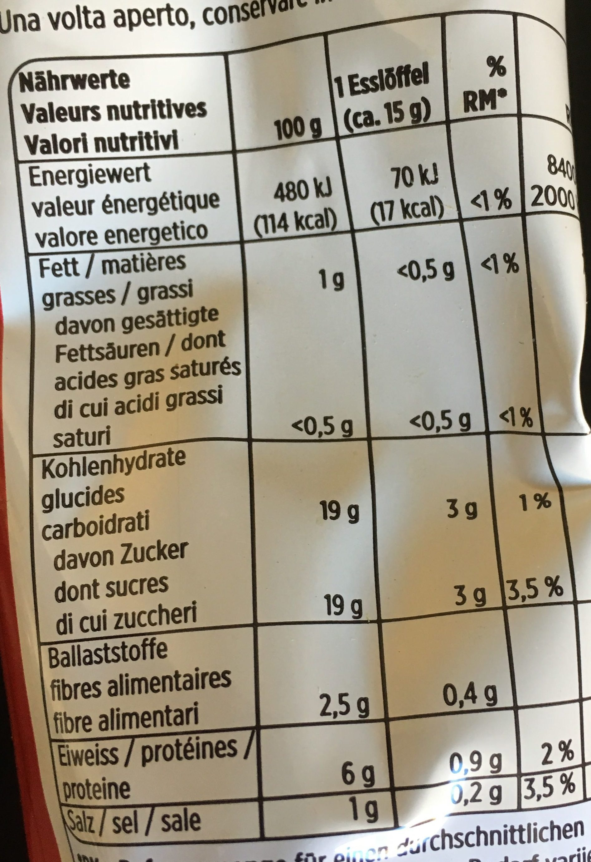 Tomatenpüree - Nutrition facts - de