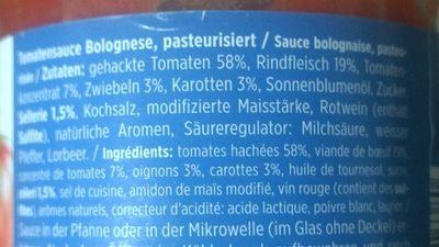 Sugo bolognese - Ingredienti - fr