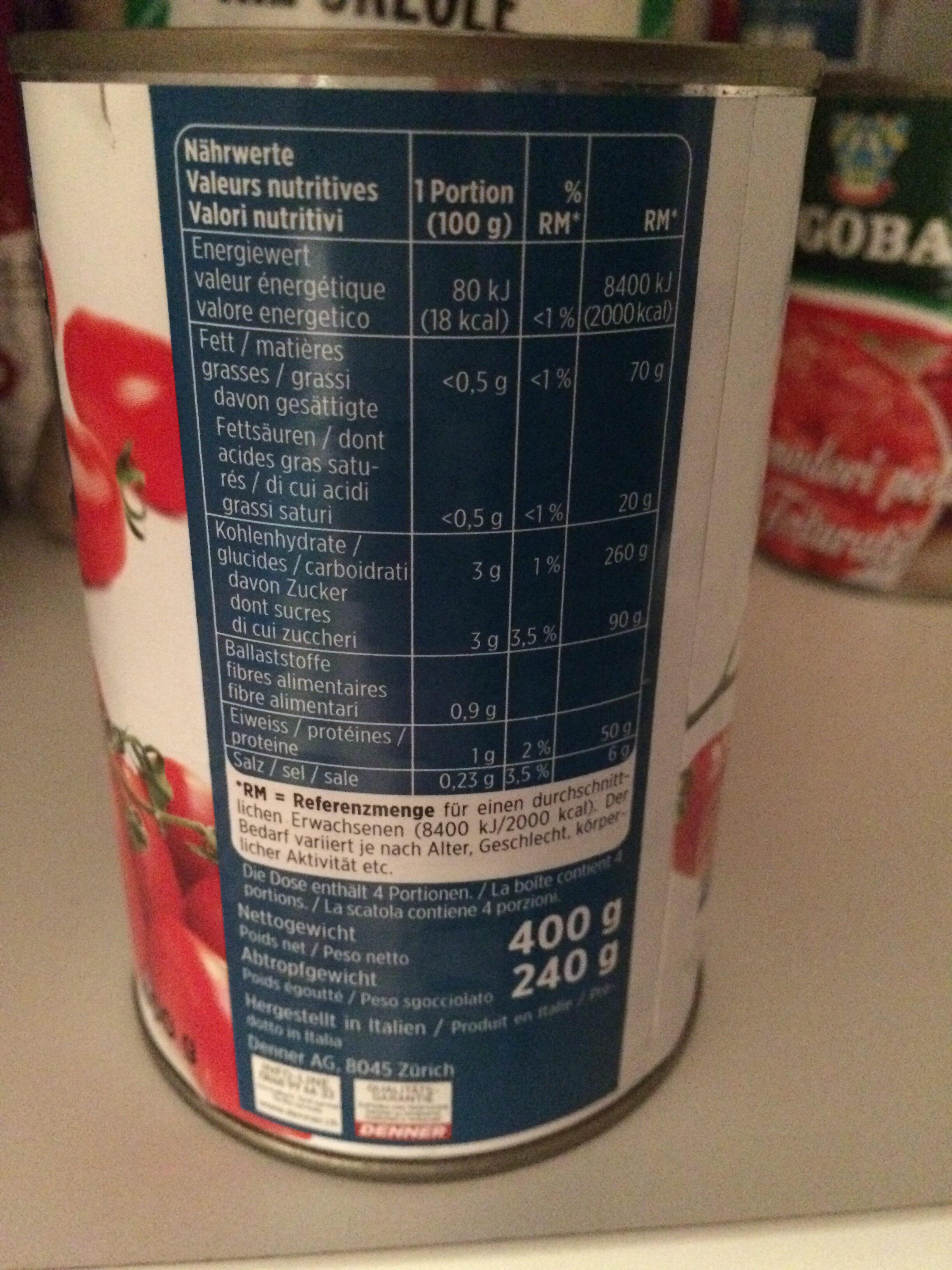Tomates pelées - Valori nutrizionali - fr