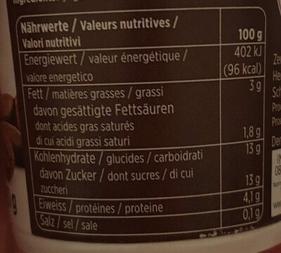 Yogourt moka ferme - Informations nutritionnelles - fr