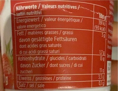 Erdbeere joghurt - Nutrition facts - de