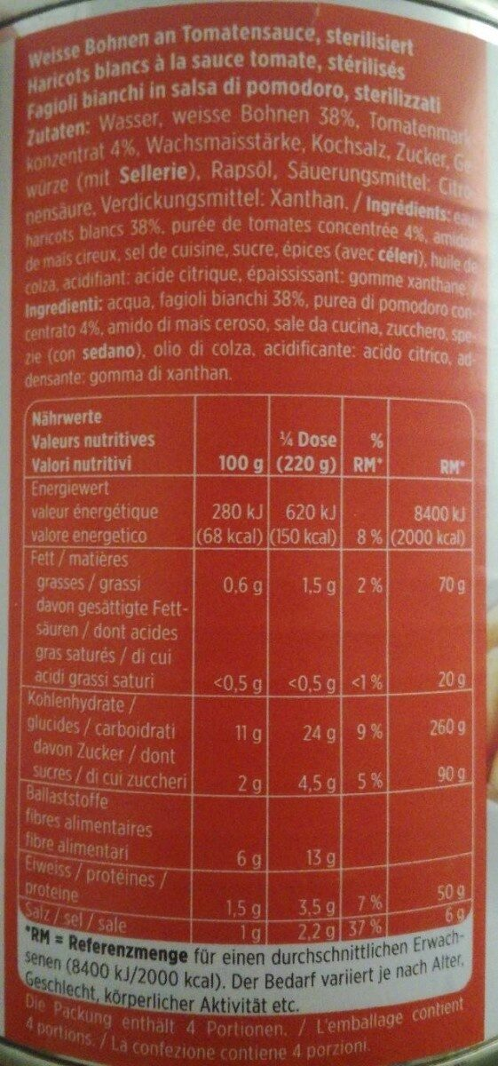 Haricots blancs à la sauce tomate - Voedigswaarden