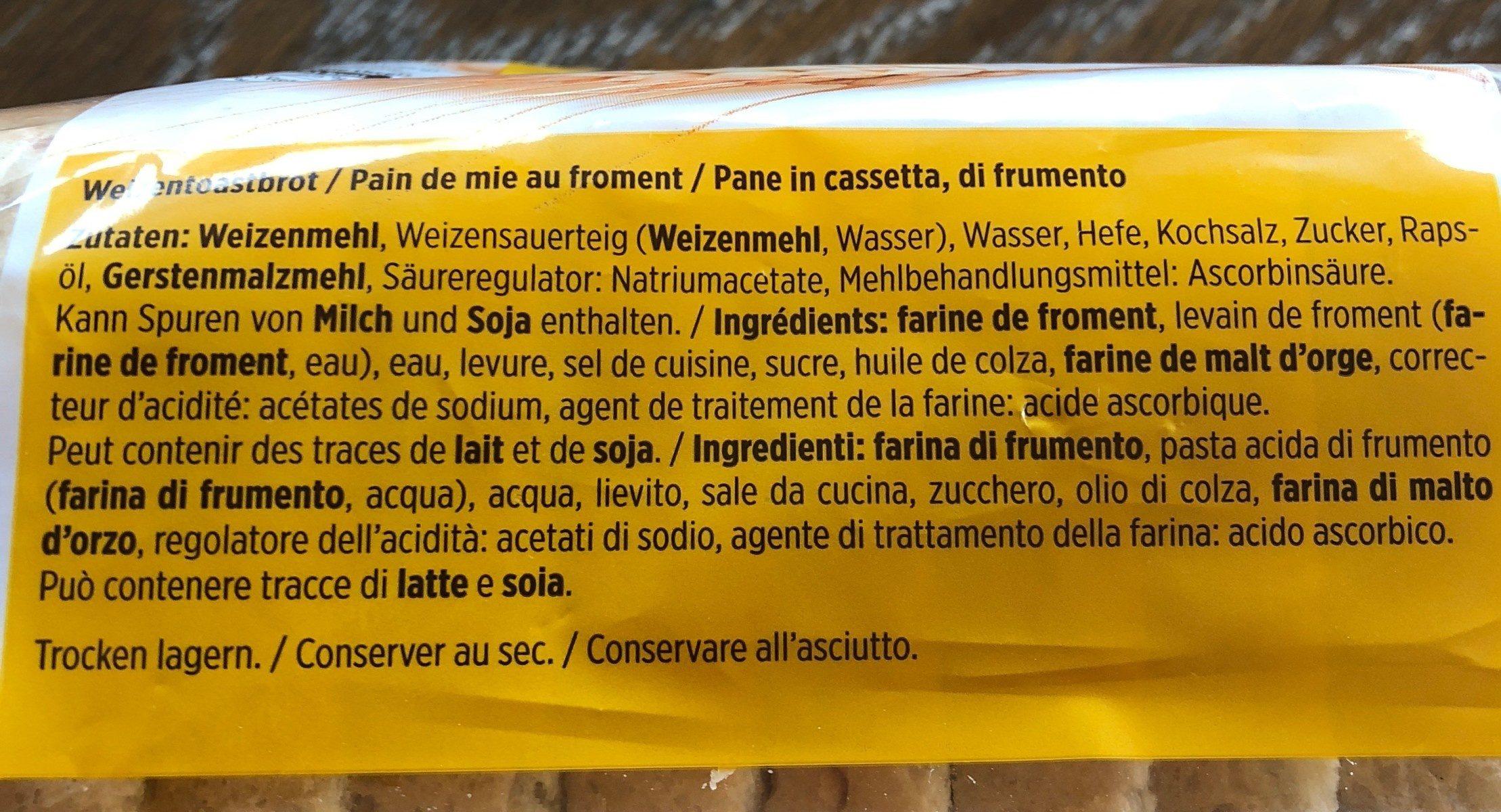 Toast - Ingredients - fr