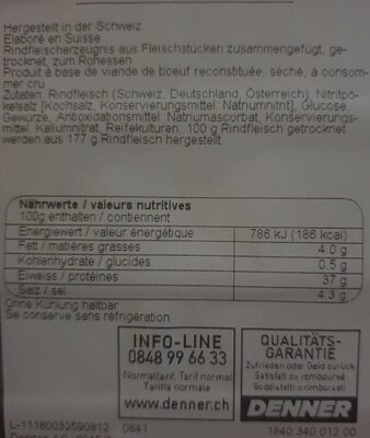 Viande séchée Fribourgeoise - Valori nutrizionali - fr