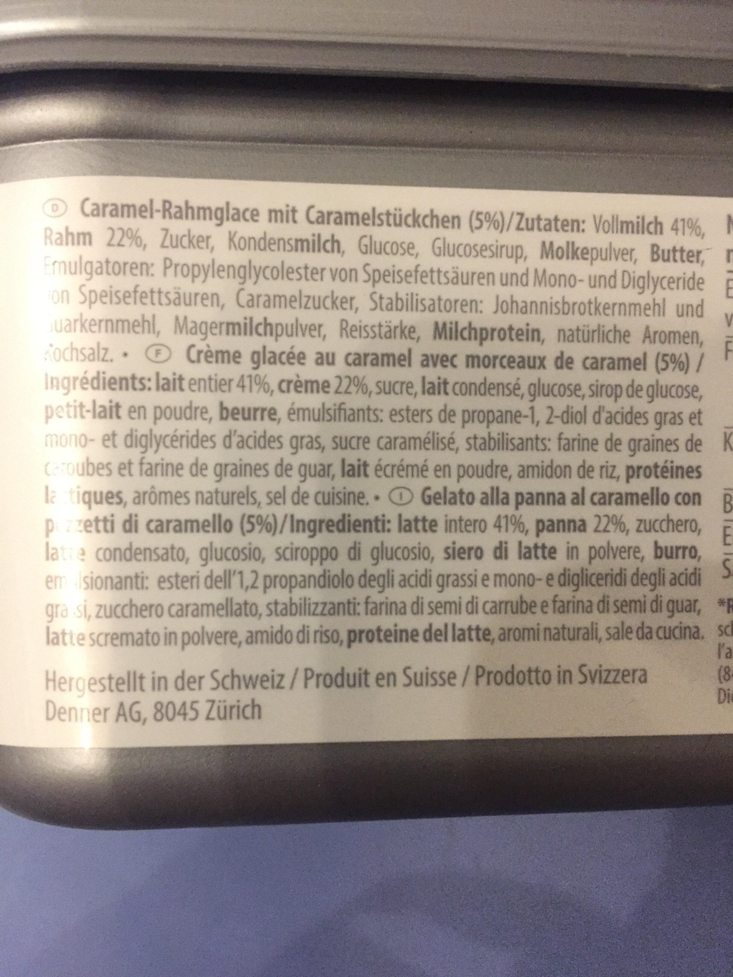 Crème glacée Caramel à la crème suisse - Ingredienti - fr