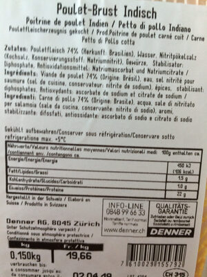 Poulet Brust Indisch - Nutrition facts