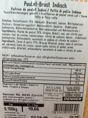 Poulet Brust Indisch - Nutrition facts - fr