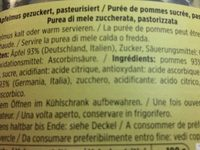 Apfelmus Gezuckert Pasteurisiert - Ingredients
