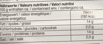 Charcuterie de volaille - Nutrition facts - fr