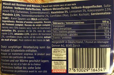Muesli complet aux raisins et aux noix - Ingredients - fr