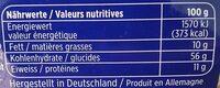 Muesli complet aux raisins et aux noix - Nutrition facts - fr