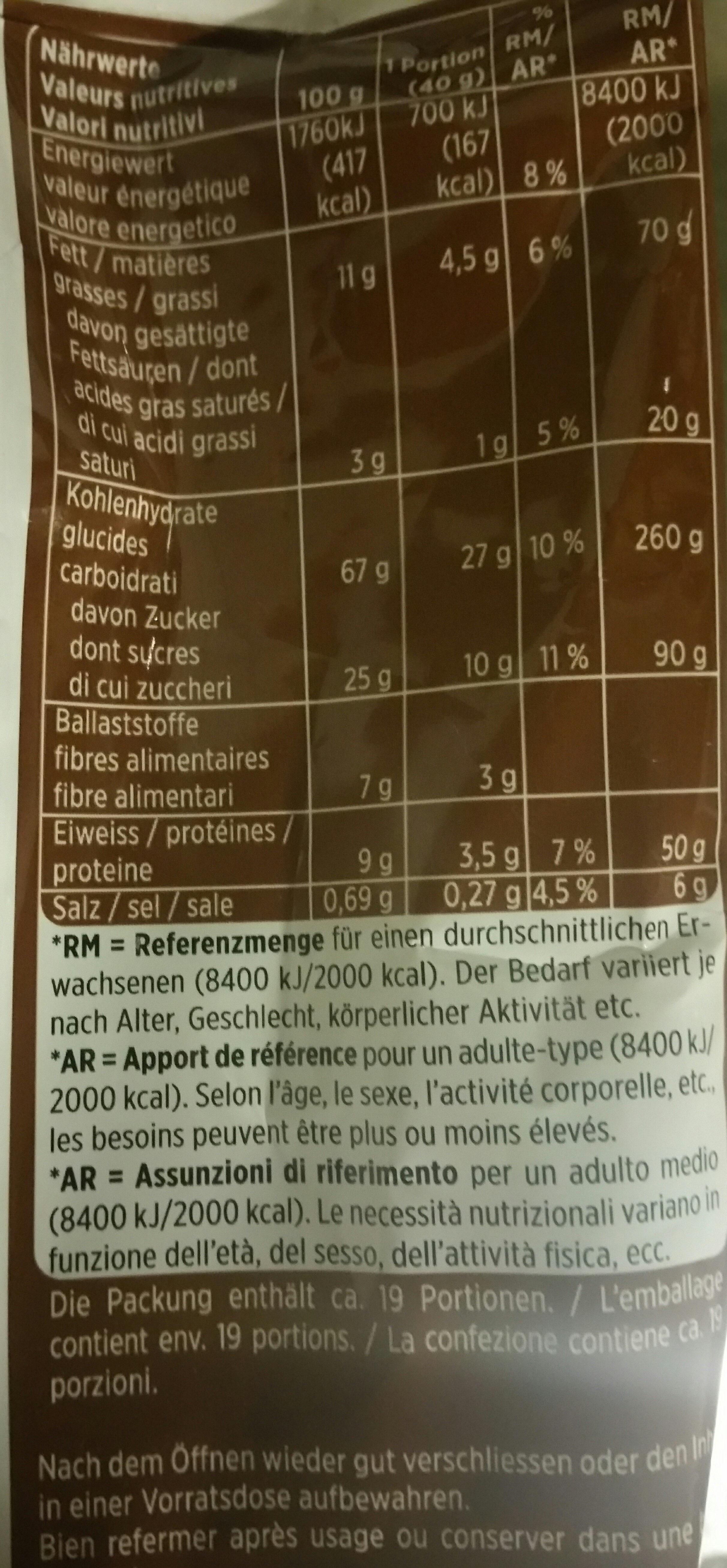 Crunchy Müesli - Nutrition facts - fr