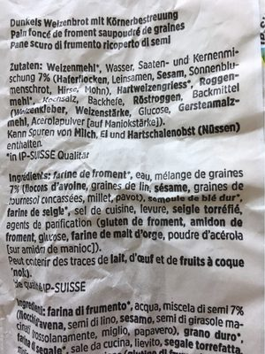 Brot Rustico - Nutrition facts - fr
