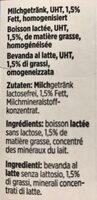 Lactosefrei Milchgetrnk Uht, 1.5% Fett - Ingrediënten - fr