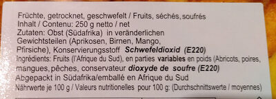 mélange de fruits secs - Ingredients - fr
