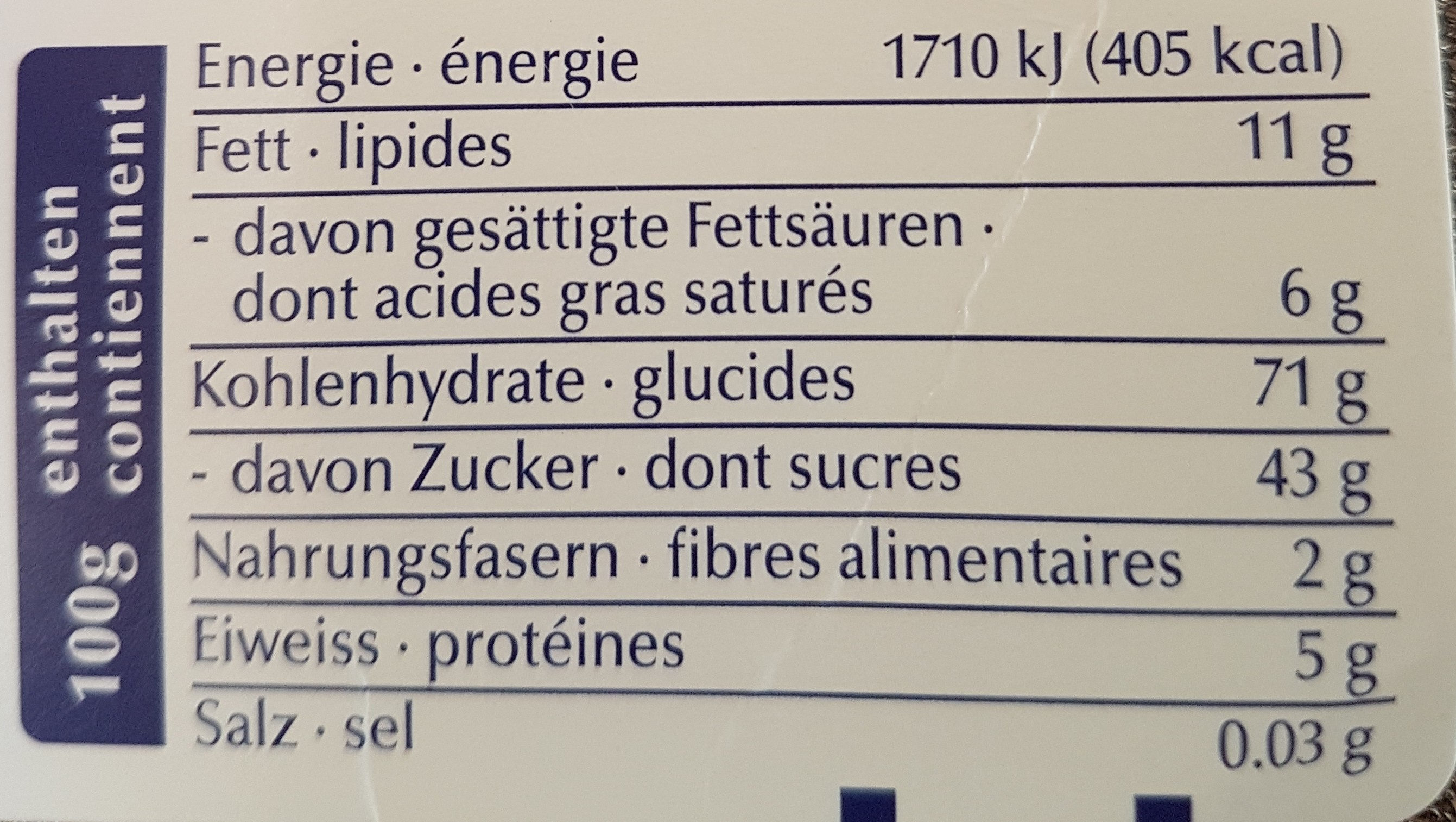 Crema - Nutrition facts - fr