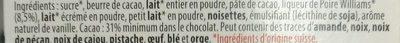 Larmes de Poire Williams LAIT - Ingrédients - fr