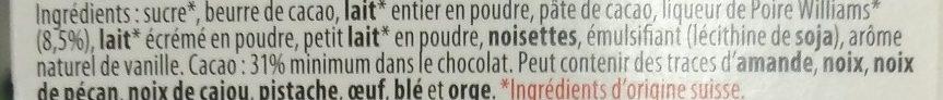 Larmes de Poire Williams - Ingrediënten - fr