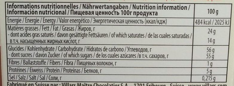 Chocolat aux Larmes de Whisky - Voedingswaarden - fr