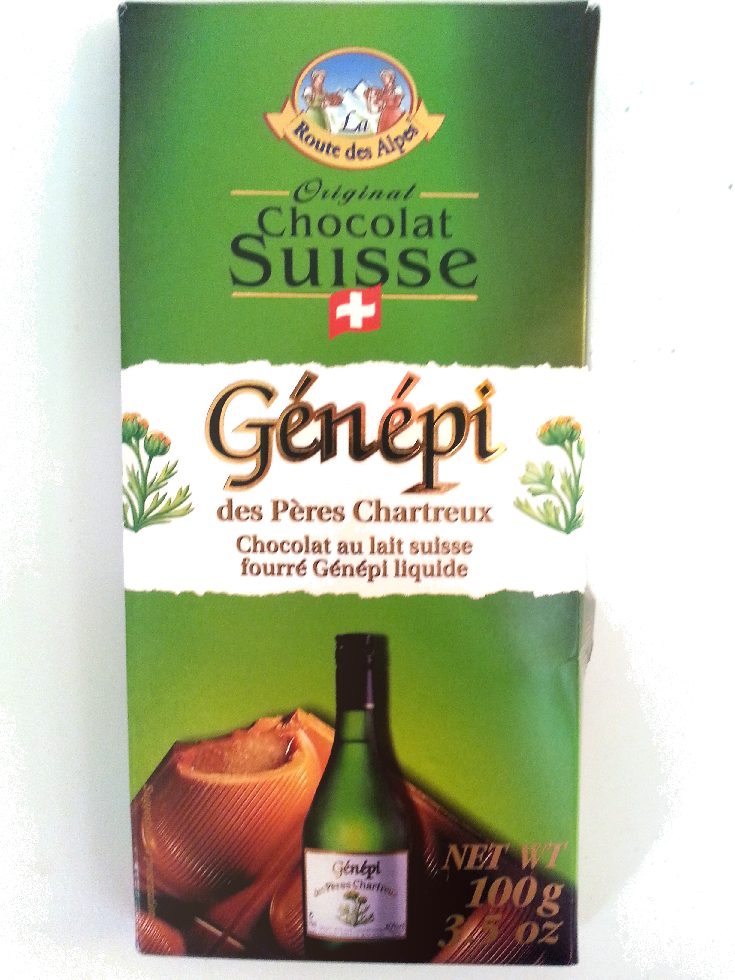Chocolat au lait suisse fourré Génépi liquide - Produit