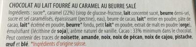 Chocolat Lait Caramel au beurre salé - Ingredients