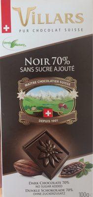 Chocolat noir 70% sans sucre ajouté - Produit