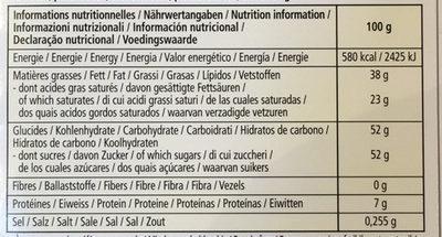 Chocolat blanc - Nutrition facts