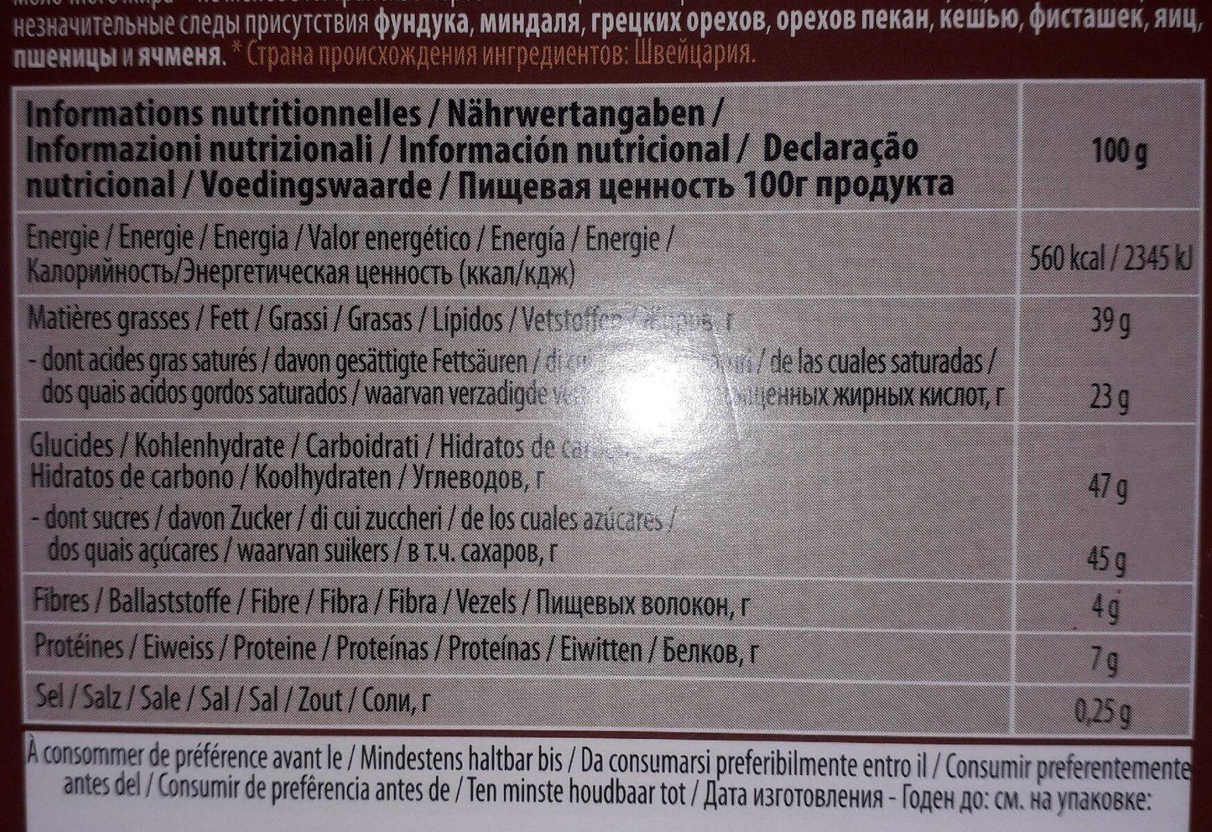 Chocolat au lait Fusion pur - Valori nutrizionali - fr