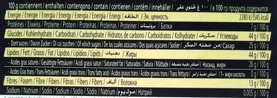Chocolat Noir 72 % - Nutrition facts